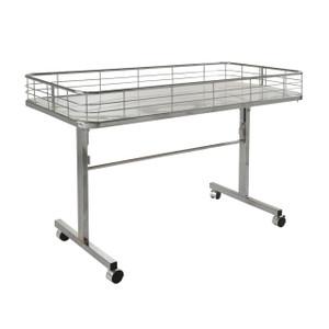 Folding Dump Bin Table on Wheels | Chrome