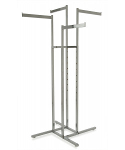 4 Way Clothing Display Rack  with 4 Straight Flag Arms | Chrome