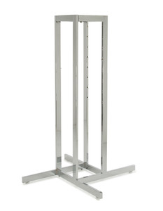 4 Way Clothing Rack Base Only | Rectangular Tubing | Chrome