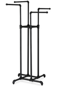 Pipe Four Way Clothing Display Rack | MATTE BLACK