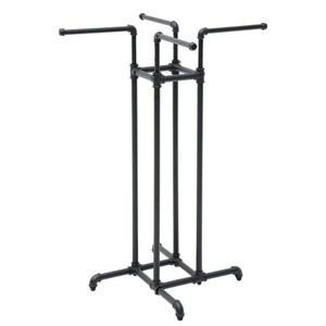 4 Way Pipe Clothing Rack | Matte Black