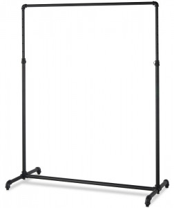 Pipe Single Rail Ballet Clothing Display Rack | MATTE BLACK