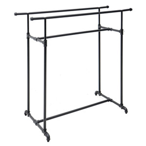 Double Bar Retail Clothing Display Pipe Rack | MATTE BLACK