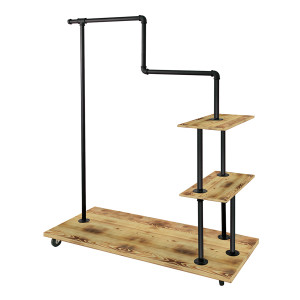 Combination Hangrail and Shelves Pipe Rack  MATT BLACK