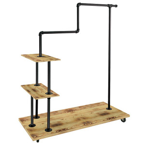 Pipeline Clothing Rack With Hangrail and Shelves - Matte Black