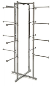 "Folding Lingerie Display Rack With (16) 12"" Long Round Display Arms"