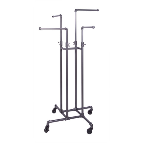 4 Way Rolling Pipeline Clothing Rack with Adjustable Height Arms  | GREY