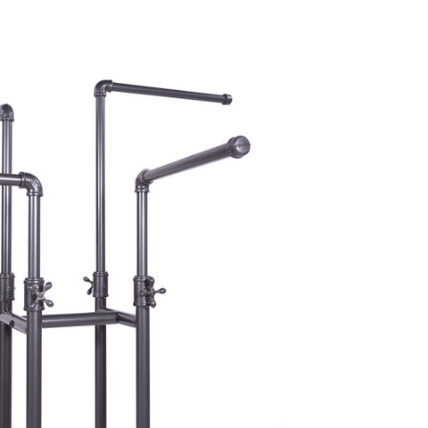 4 Way Rolling Pipeline Clothing Rack with Adjustable Height Arms    GREY