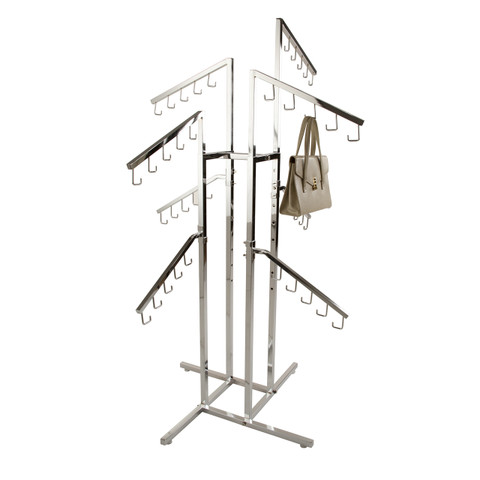 4 Way Handbag Display Rack w/ 8 Slanted Arms | CHROME