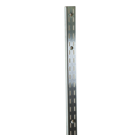 Satin Zinc 8 foot Long Double Slotted Standard  that fits 1/2 Slots On 1 Center  Accessories