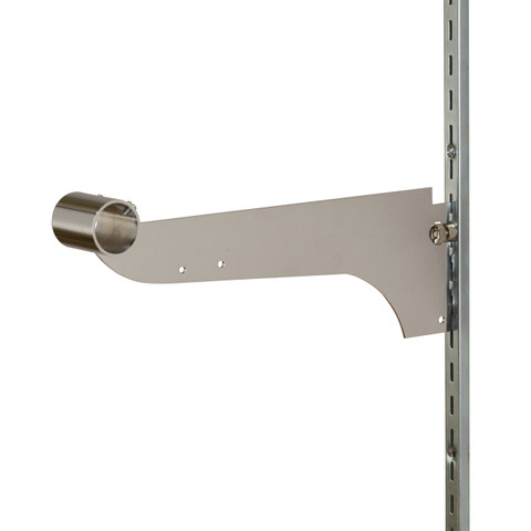 "12"" Chrome Bracket with Track Locking Screw for 1"" Round Tube  Fits 12 Slots on 1 Center Standard"
