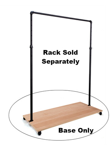 Wood Base For Matte Black Single Rail Ballet Pipe Rack