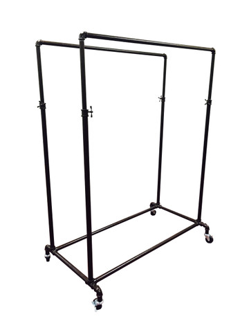 Double Rail Adjustable Height Pipe Clothing Display Rack   COPPERVEIN