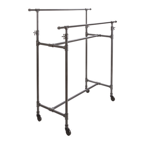 Double Rail Pipe Clothing Rack  60 Height Adjustable Rail  Grey