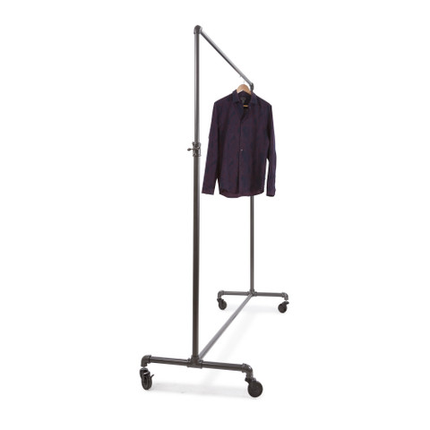 "60"" Wide Pipeline Adjustable Height Rolling Clothing Ballet Rack | GREY"