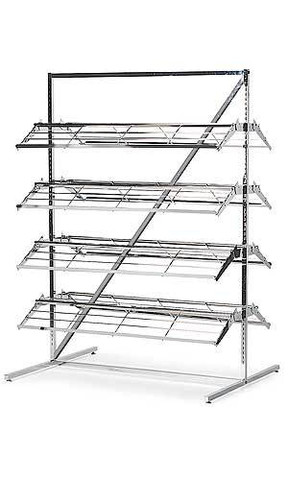 Shoe Display Rack | 8  Display Four on Each Side | Chrome