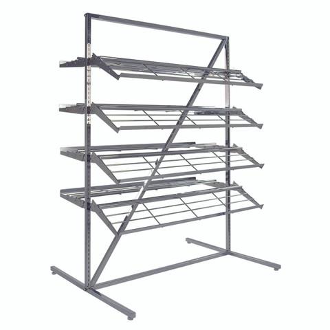 Shoe Rack Display with 8 Shelves 2-Sided | CHROME