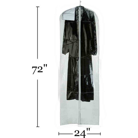 72 Clear Vinyl Zippered Bridal Gown Cover With Document Packet-1