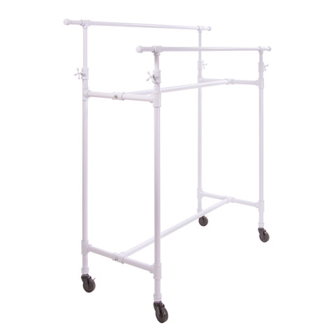 Double Rail Pipe Clothing Rack | Gloss White