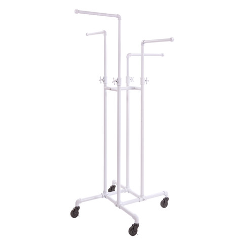 4 Way Pipe Clothing Rack  Gloss White