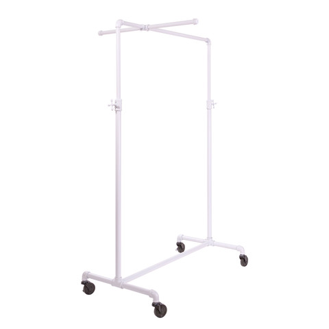 41 Pipe Clothing Rack With Cross Bar  Gloss White