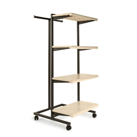 T Stand & Four Shelves Combination Clothing Rack  Almond Shelves