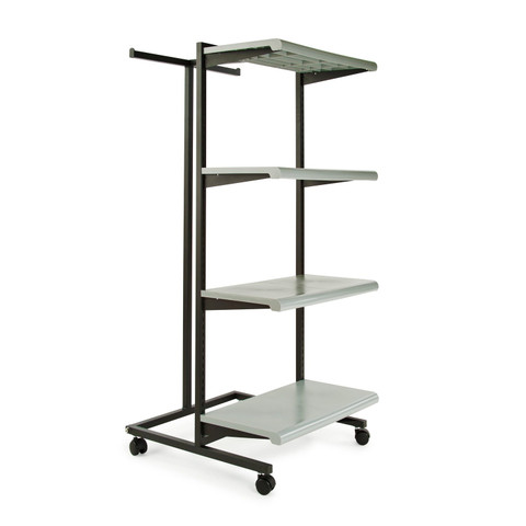 T Stand & Four Shelves Combination Clothing Rack  Grey Shelves