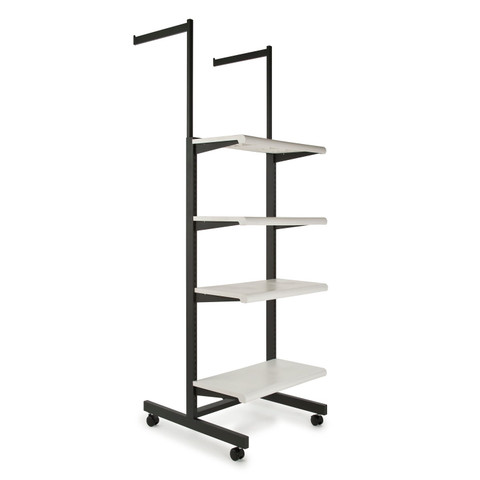 Two Arms & Four Shelves Combination Clothing Rack  White Shelves