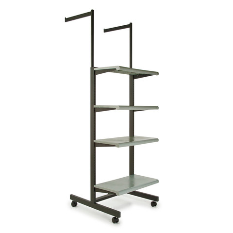 Two Arms & Four Shelves Combination Clothing Rack  Grey Shelves