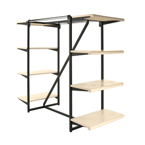 Double Bar & Eight Shelves Combination Clothing Rack | Almond Shelves