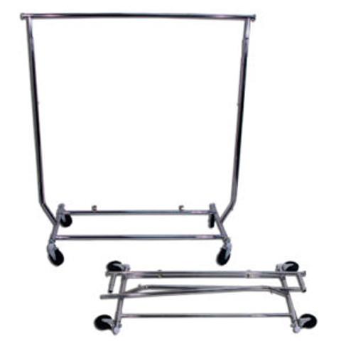 Collapsible Single Rail Salesman Rolling Clothing Rack | Chrome