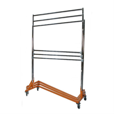 Adjustable Height Double Rail Rolling Garment Z Rack 5ft | Orange