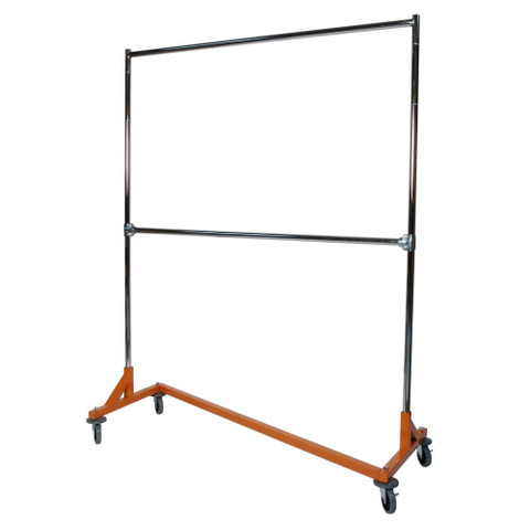 5ft Adjustable Height Double Rail Commercial Garment Z Rack | ORANGE