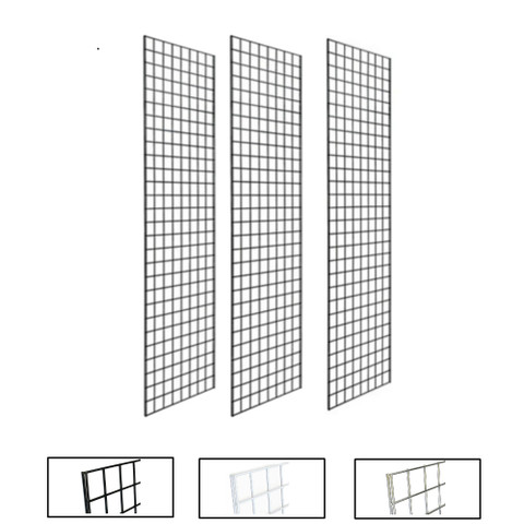 1' X 5' Gridwall Panels | Black, White or Chrome