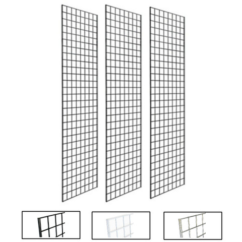 2' X 7' Gridwall Panels | Black, White or Chrome