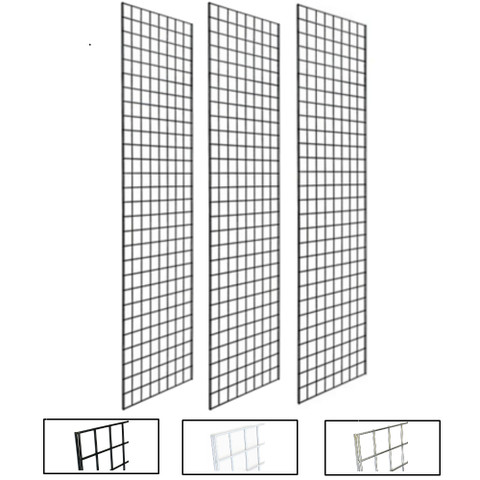 2' X 8' Gridwall Panels | Black, White or Chrome