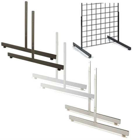 Gridwall T Shaped Base | Black, White or Chrome