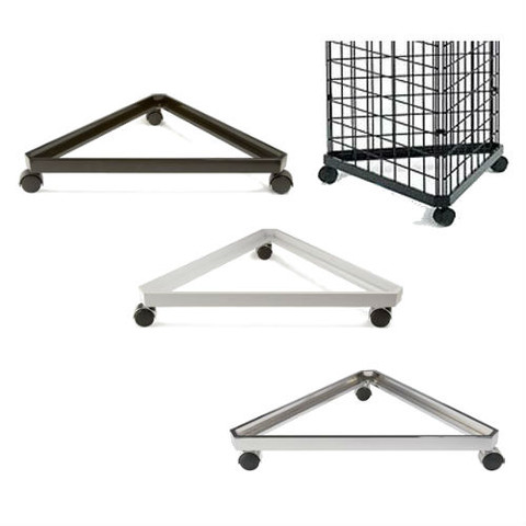Gridwall Triangle Base with Casters | Black, White or Chrome