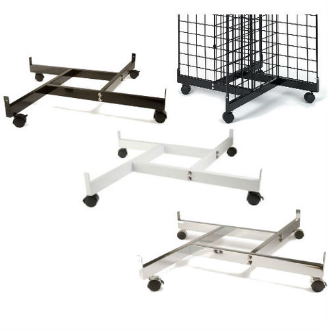 Gridwall 4 Way Base with Casters | Black, White or Chrome
