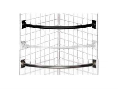Gridwall Quarter Circle Hangrail | Black, White or Chrome