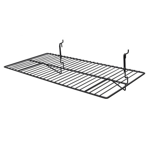 Gridwall Wire Shelf 12in x 24in - Black