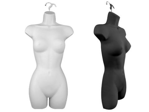 Female Full Torso Hanging Body Form | Black or White