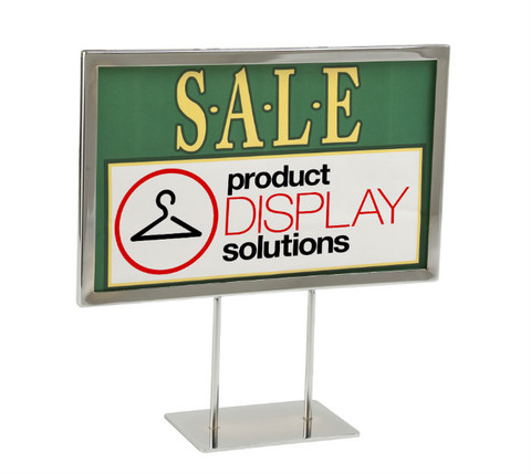 "7""H x 11""W Twin Stem Metal Counter Sign Holder 