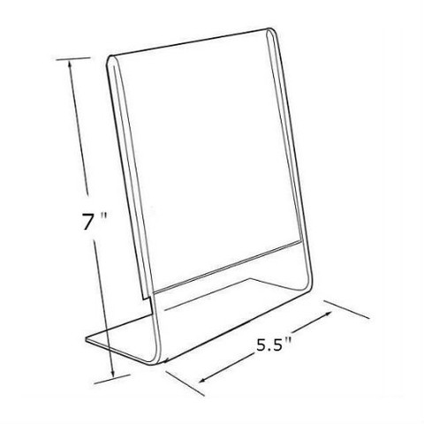 """7""""H x 5.5""""W Acrylic Tabletop Sign Holder 