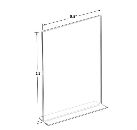 """11""""H x 8.5""""W  Double Sided Clear Countertop Sign Holder 