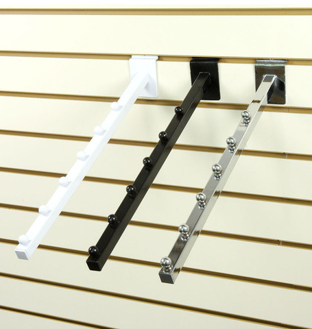 Slatwall 6-Ball Waterfall Faceout Arm | Black, White or Chrome