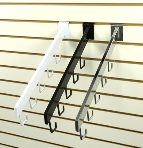 Slatwall  5-J-Hook Waterfall Rectangular Faceout | Back, White or Chrome
