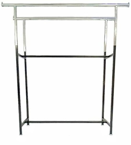 "Double Rail Clothing Rack | 60""L Adjustable Height 48""- 72""  