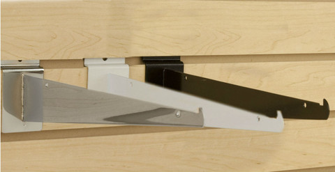 "Slatwall 14"" Metal Shelf Brackets   Black, White or Chrome"