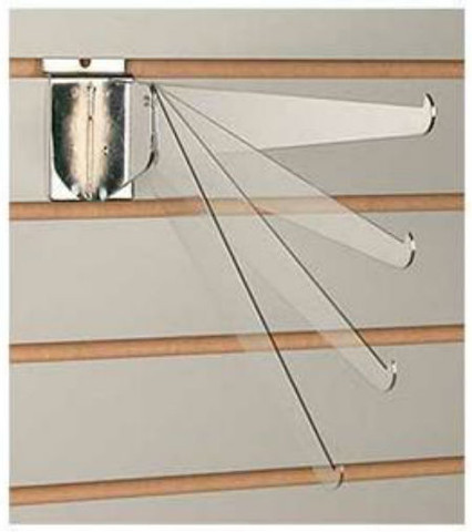 "Slatwall 12"" Metal Adjustable Shelf Brackets | Chrome"